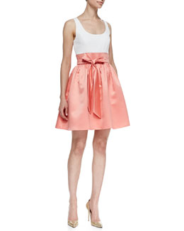 Aidan Mattox Sleeveless Combo Bow-Tie Belt Cocktail Dress, Ivory/Apricot