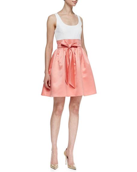 Sleeveless Combo Bow-Tie Belt Cocktail Dress, Ivory/Apricot