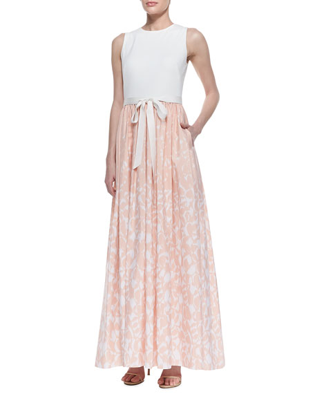 Sleeveless Printed Skirt Gown with Bow Belt, Ivory/Blush