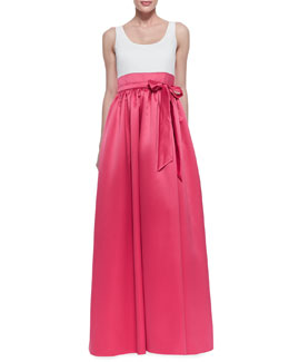 Aidan Mattox Sleeveless Tie Belt Combo Gown, Ivory/Raspberry
