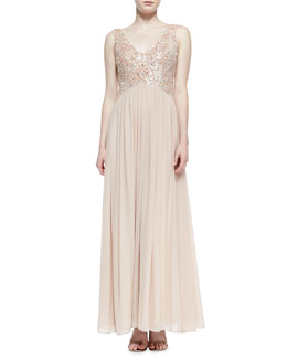 Aidan Mattox Sleeveless Beaded Bodice Gown, Blush