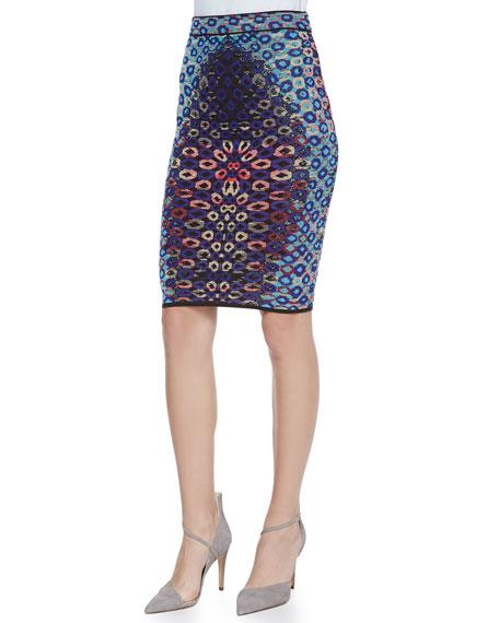 Optical Jacquard Pencil Skirt