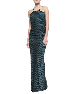 M Missoni Halter-Neck Web Relief Gown, Teal