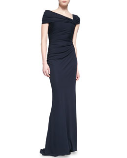 Badgley Mischka Collection Asymmetric Off-Shoulder Gown, Navy