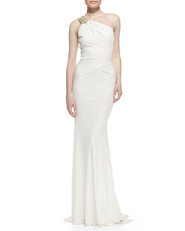Badgley Mischka Collection One-Shoulder Beaded-Strap Gown, Oyster