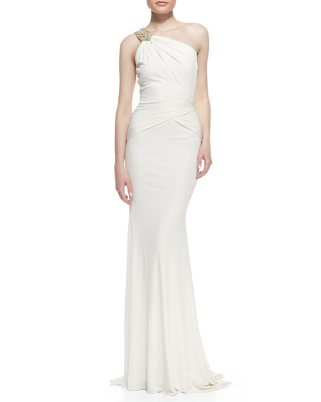 One-Shoulder Beaded-Strap Gown, Oyster