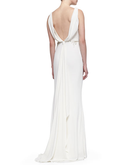 Sleeveless V-Back Draped Gown, Oyster