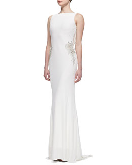 Badgley Mischka Collection Sleeveless V-Back Draped Gown, Oyster