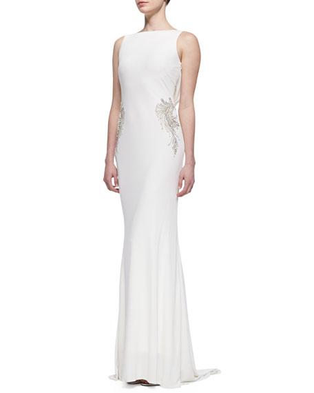Sleeveless V-Back Draped Gown, Oyster