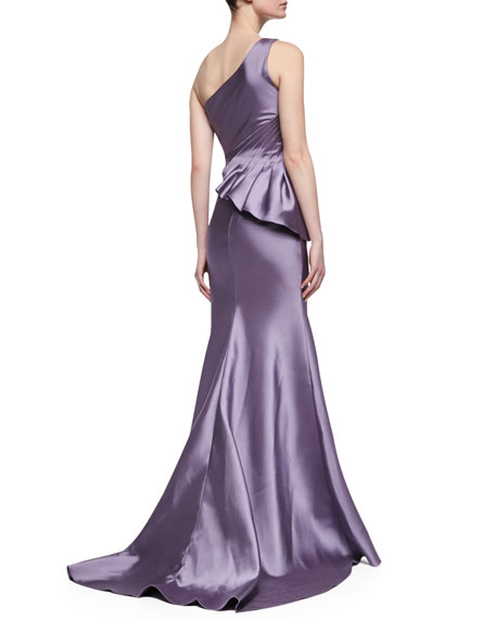 One-Shoulder Seamed Side Peplum Gown, Lilac-