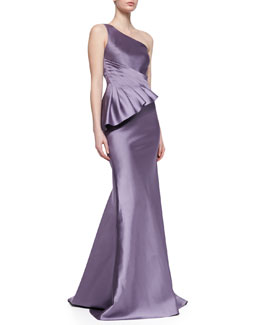 Badgley Mischka Collection One-Shoulder Seamed Side Peplum Gown, Lilac-