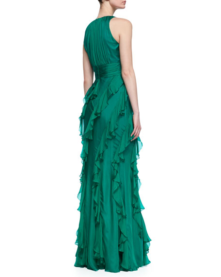 Sleeveless Ruffle Skirt Gown, Emerald