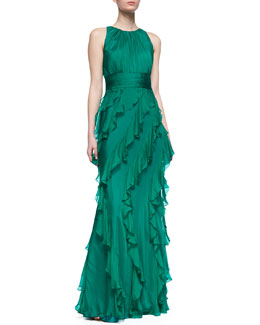 Badgley Mischka Collection Sleeveless Ruffle Skirt Gown, Emerald