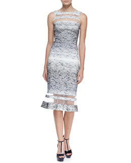 Badgley Mischka Collection Sleeveless Illusion Ring Dress, Navy/White