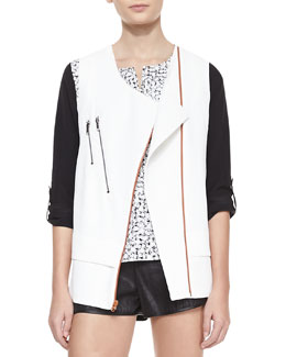 Waverly Grey Akira Structured Zip-Pocket Moto Vest