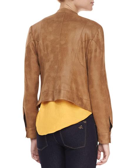 Morgan Draped Faux-Leather Jacket