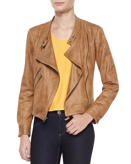 Morgan Draped Faux-Leather Jacket