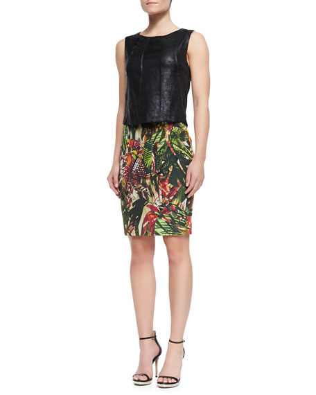 Auto Botanical-Print Skirt, Green/Berry
