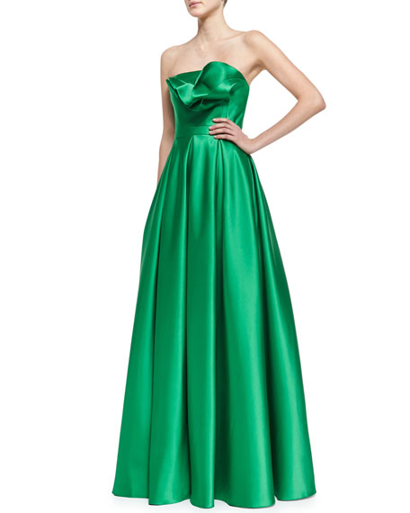 Strapless Ruffle-Bodice Gown, Kelly Green
