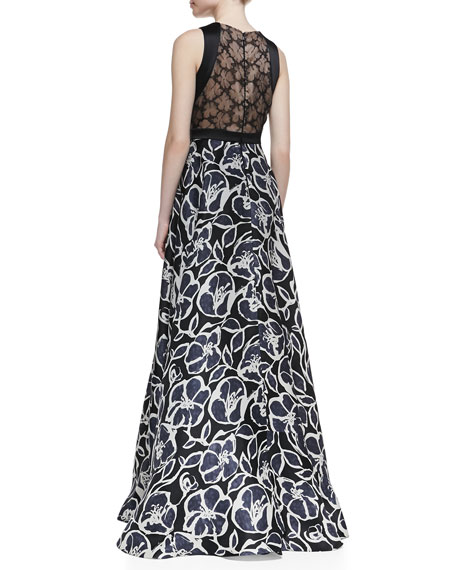 Sleeveless Trimmed Bodice Printed Gown, Black/Ivory
