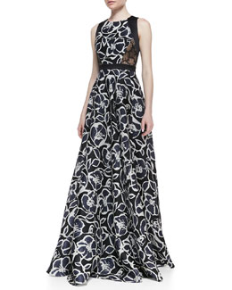 Carmen Marc Valvo Sleeveless Trimmed Bodice Printed Gown, Black/Ivory