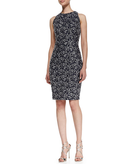 Sleeveless Embroidered Loop Cocktail Dress, Midnight/Silver
