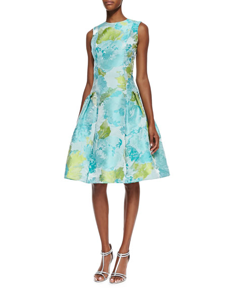 Sleeveless Floral Print Cocktail Dress, Aqua/Green