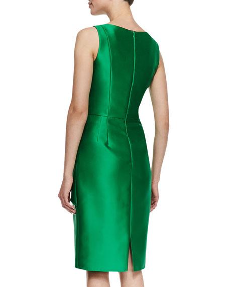 Sleeveless Ruffle Waist Cocktail Dress, Kelly Green
