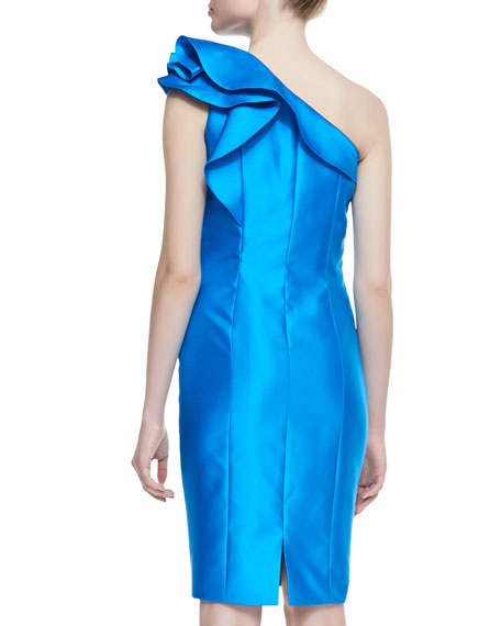 One-Shoulder Ruffle Detail Cocktail Dress, Turquoise