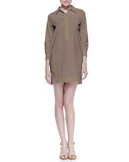 Theory Icon Bracelet-Sleeve Shirtdress, Tobacco