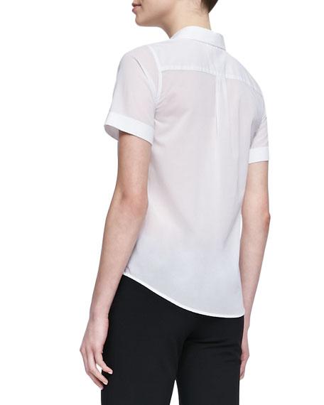 Uniform Short-Sleeve Voile Blouse