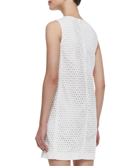 Sleeveless Eyelet Sheath Dress, White