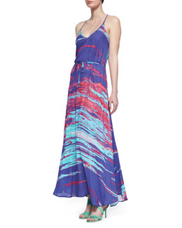 Karina Grimaldi Ronnie Printed Tie-Waist Maxi Dress