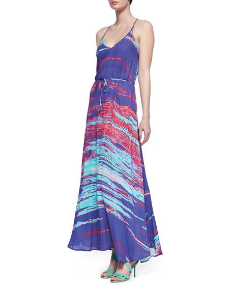 Ronnie Printed Tie-Waist Maxi Dress