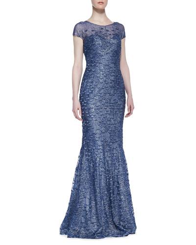 Rene Ruiz Short-Sleeve Beaded Overlay Gown, Marine Blue
