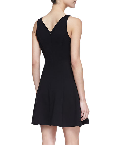 Peyton Sleeveless Fit & Flare Dress with Mesh, Black