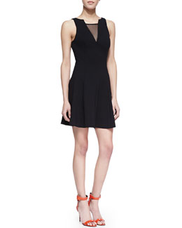Amanda Uprichard Peyton Sleeveless Fit & Flare Dress with Mesh, Black