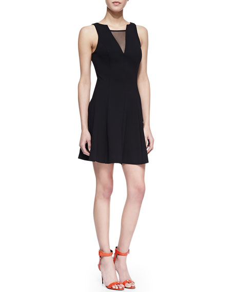 Peyton Sleeveless Fit & Flare Dress with Mesh, Black