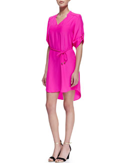 Amanda Uprichard Stacy Belted Tab-Sleeve Dress