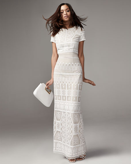Amelia Patterned Open-Back Dress