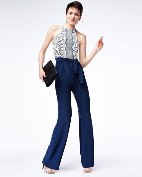 Lace-Top Wide-Leg Jumpsuit