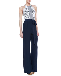 korovilas Lace-Top Wide-Leg Jumpsuit