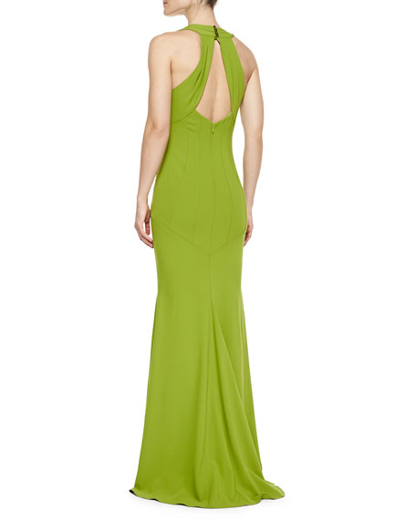 Sleeveless Seamed Mermaid Gown, Lime