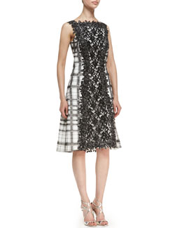 Tadashi Shoji Lace Panel Front & Back Cocktail Dress, Black/White