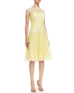 Tadashi Shoji Sleeveless Embroidered Bodice Cocktail Dress, Lemon/White