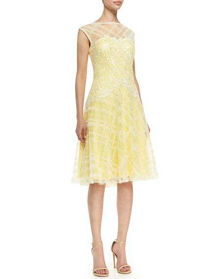 Sleeveless Embroidered Bodice Cocktail Dress, Lemon/White