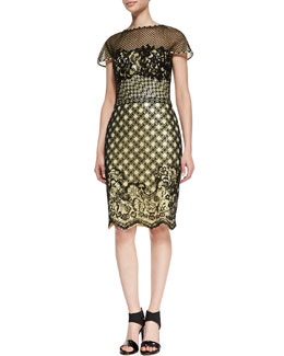 Tadashi Shoji Short Sleeve Mixed Media Lace Cocktail Dress, Black/Lemon