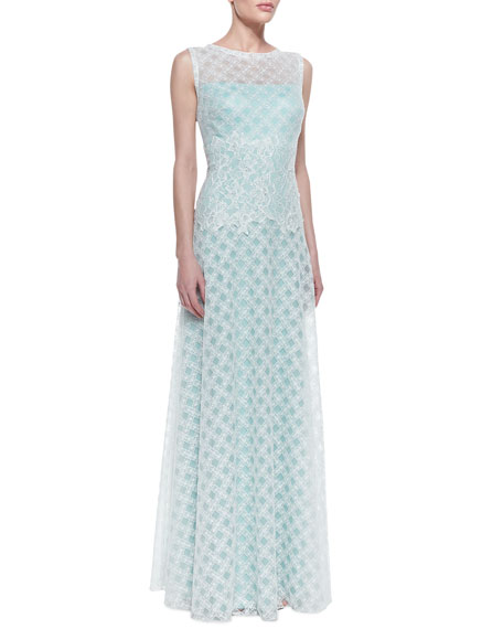 Sleeveless Latticework Lace Waist Gown, Mint/White
