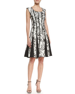 Tadashi Shoji Sleeveless Lace-Print Cocktail Dress, Black/White