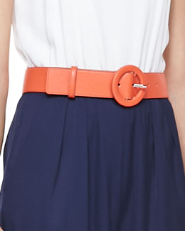 Alice + Olivia Faux-Leather Belt with Round Buckle